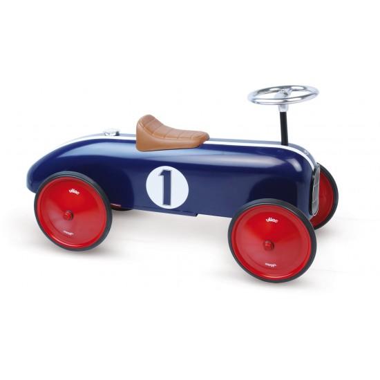 Vilac - Voiture porteur enfant en métal bleu