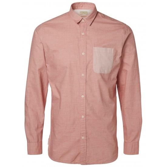 Selected homme - Chemise rouge passé et poche