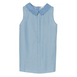 Grace et Mila - Top bleu ciel col claudine. Loading zoom 3cda27458265