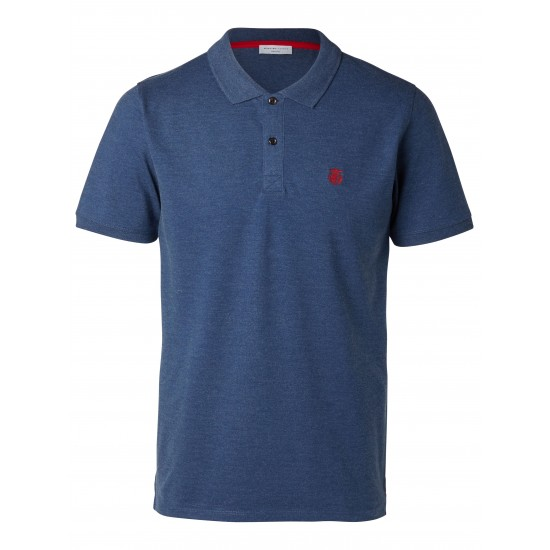 Selected - Polo bleu broderie rouge
