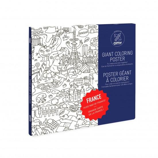 Omy - Grand poster de la France à colorier
