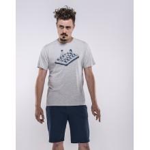 Olow - T-shirt gris chiné bronzage sur gauffre