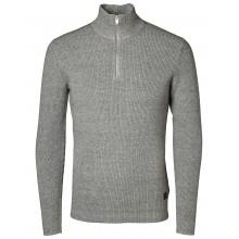 Selected - Pull en coton gris à col zippé