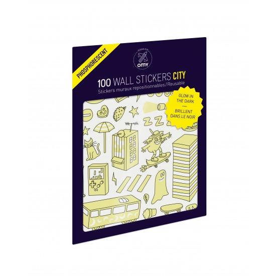 Omy - 100 stickers phosphorescents City