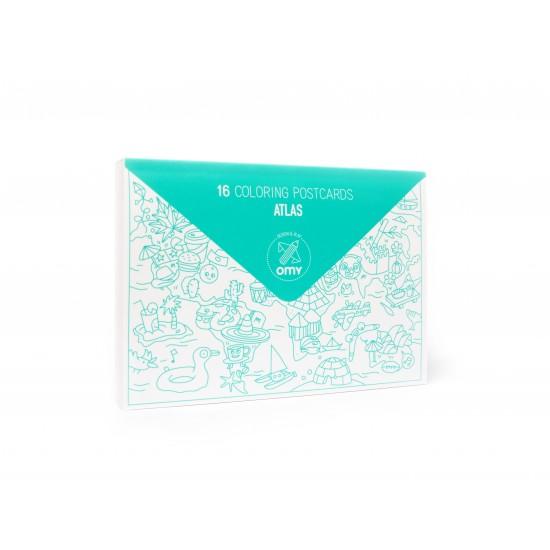 Omy - Carte postales à colorier Atlas