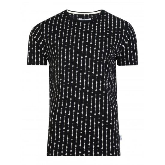 Bellfield - T-shirt noir imprimé blanc