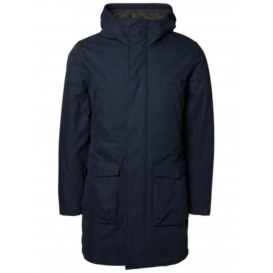 Selected - Manteau marine capuche contrasté laine bouillie