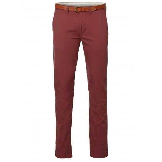 Selected homme - Pantalon chino rouille avec ceinture en cuir