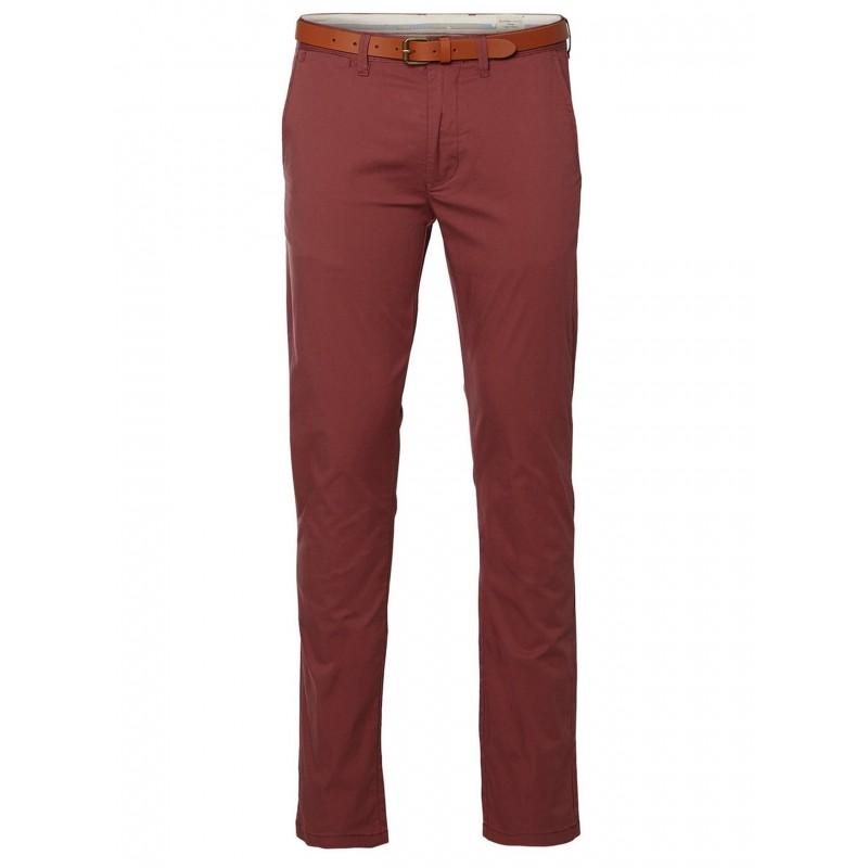 Selected homme - Pantalon chino rouille avec ceinture en cuir. Loading zoom 798ff29d79d