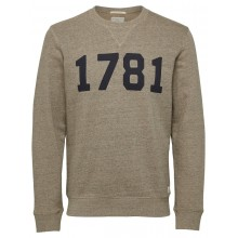 "Selected homme - Sweat beige chiné flocage marine ""1781"""