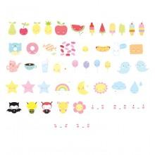 A Little Lovely - Pack de 48 fun Kawaii illustrations lightbox