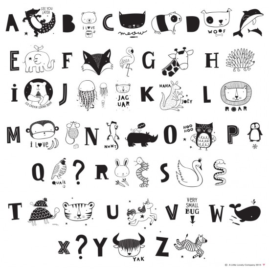 A Little Lovely - Kids ABC Pack et illustrations noires pour lightbox