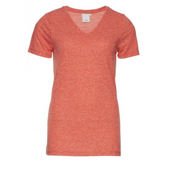 Ichi - T-shirt corail chiné femme