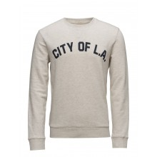 Selected homme - Sweat beige chiné flocage marine City Of L.A