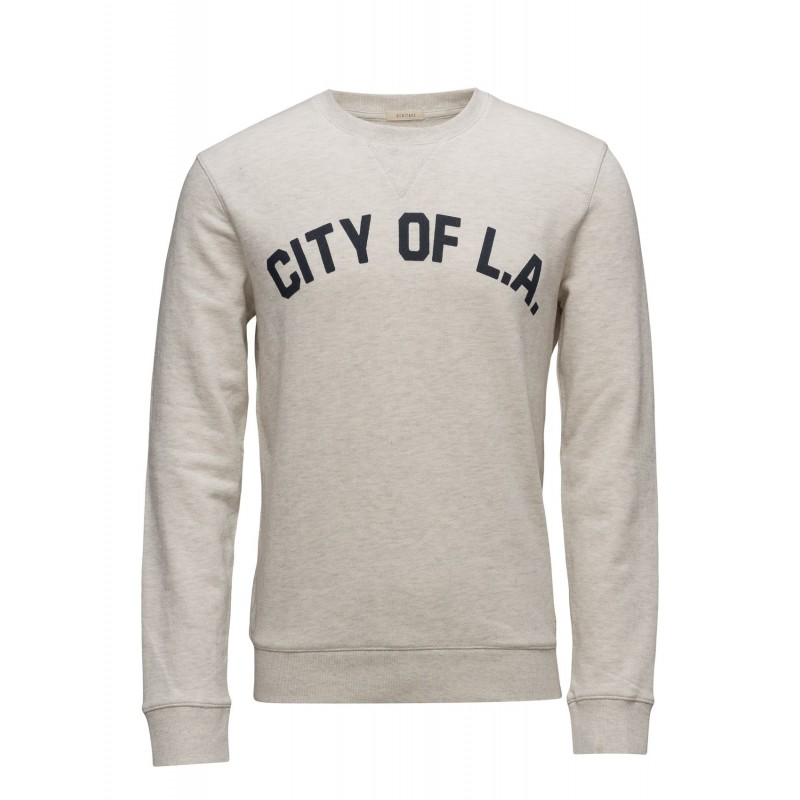 a68e0e8d7a6a7 Selected homme - Sweat beige chiné flocage marine City Of L.A. Loading zoom