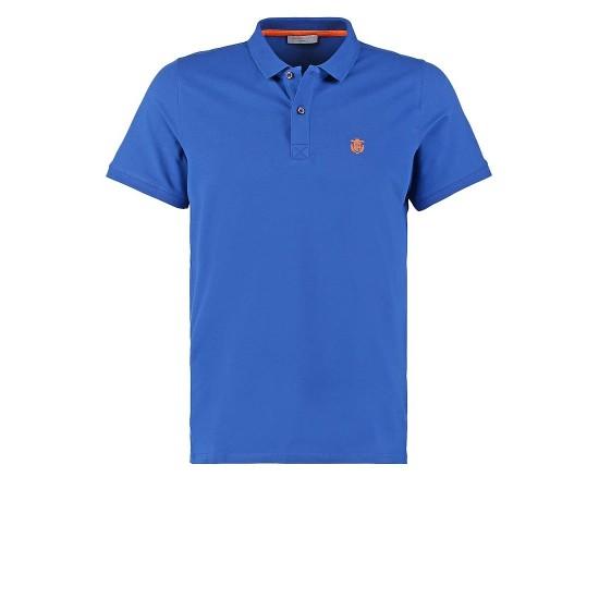 Selected - Polo bleu broderie orange