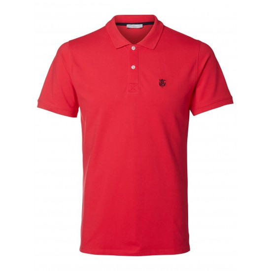 Selected - Polo rose rouge broderie noir