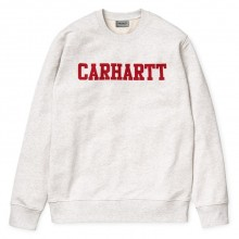 Carhartt WIP - Sweat college blanc chiné