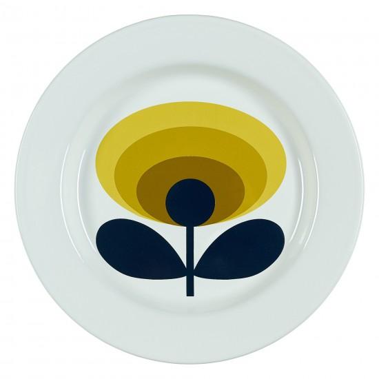 Wild & Wolf - Assiette blanche émaillée avec fleur jaune