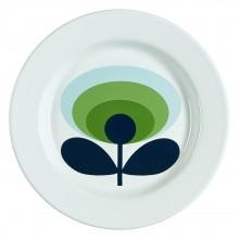 Wild & Wolf - Assiette blanche émaillée avec fleur verte