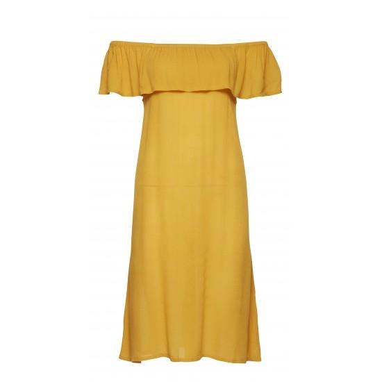 Ichi - Robe moutarde à épaules dénudées