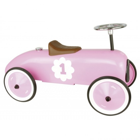 Vilac - Voiture porteur enfant en métal rose