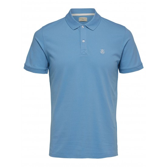 Selected - Polo bleu ciel broderie blanche