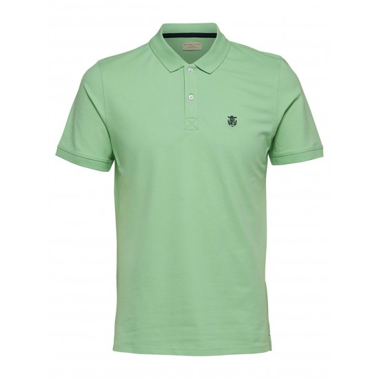 Selected - Polo vert broderie noire