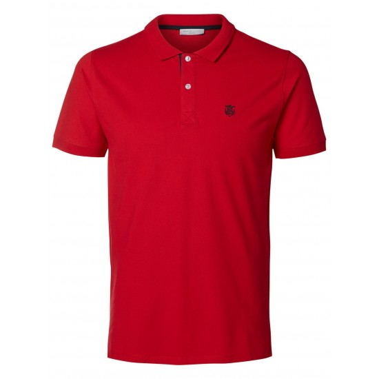 Selected - Polo rouge broderie noire
