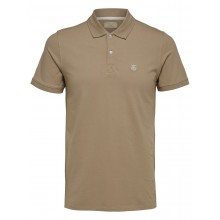 Selected - Polo beige broderie blanche