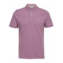 Selected - Polo lavande broderie blanche