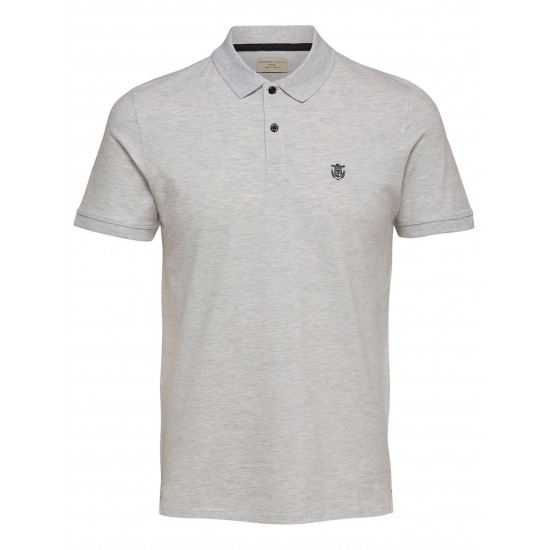 Selected - Polo blanc chiné broderie noire
