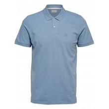 Selected - Polo bleu ciel chiné broderie bleue