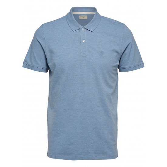 Selected - Polo bleu ciel chiné broderie bleue
