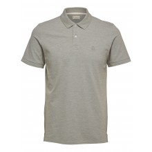 Selected - Polo gris beige broderie beige