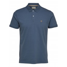 Selected - Polo bleu mirage broderie beige