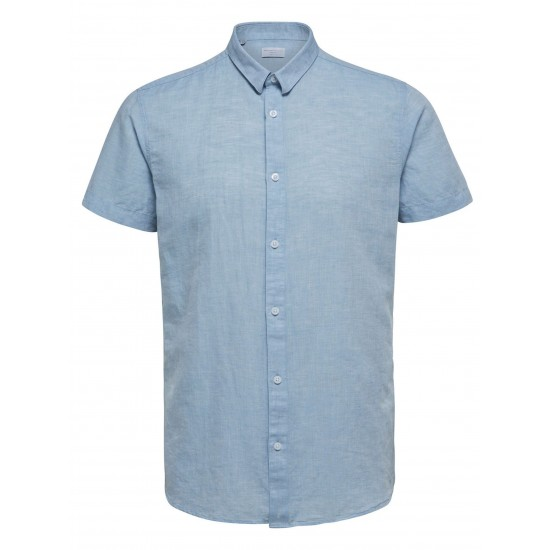 Selected - Chemise bleue manches courtes