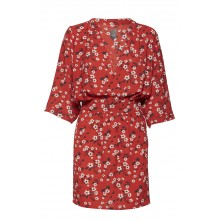 Ichi - Robe rouge motif fleurs
