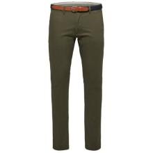 Selected homme - Pantalon chino vert sapin avec ceinture