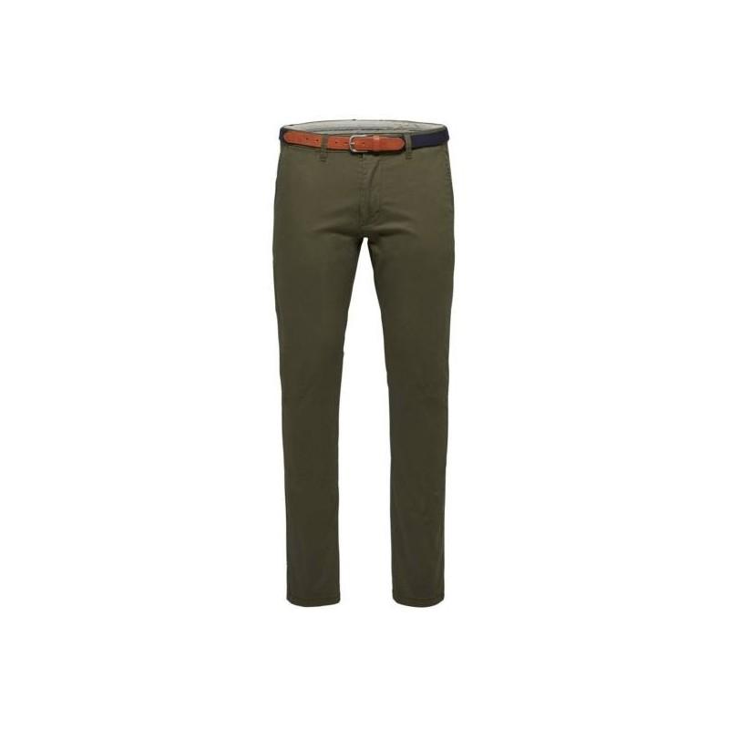 Selected homme - Pantalon chino vert sapin avec ceinture. Loading zoom 84a720cf09e