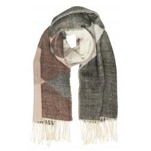 Ichi - Grosse écharpe noire, grise et rose