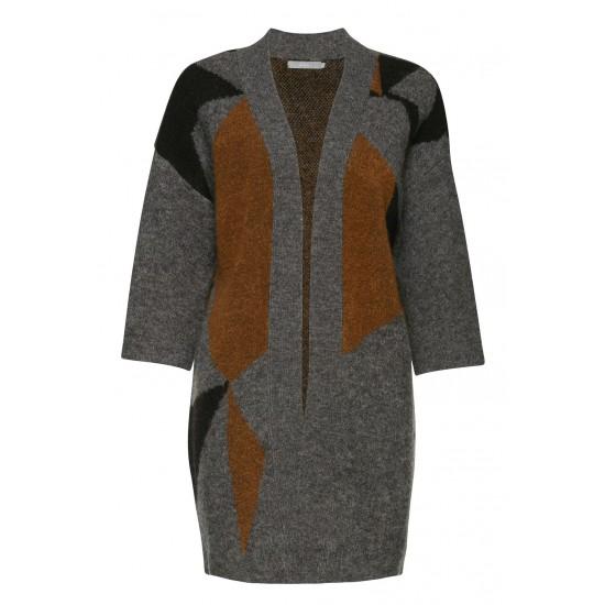 B.YOUNG - Cardigan gris, noir et marron pour femme