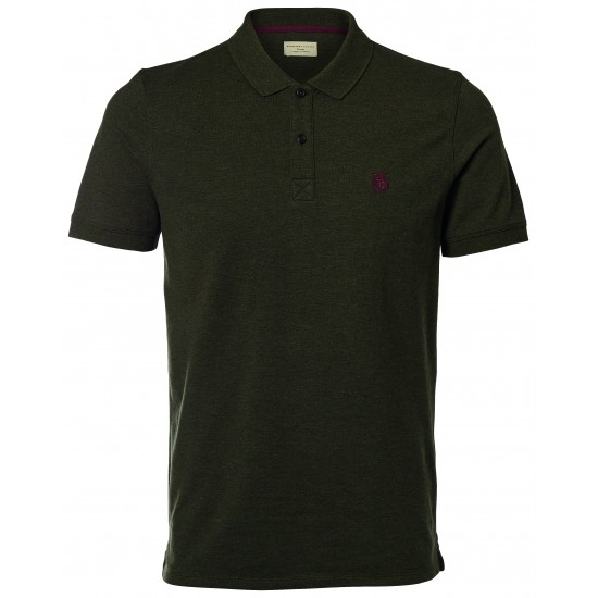 Selected - Polo vert broderie bordeaux