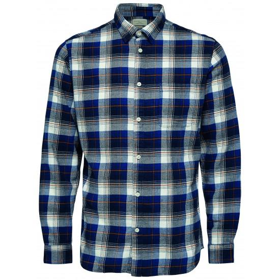 Selected homme - Chemise bleu à carreaux
