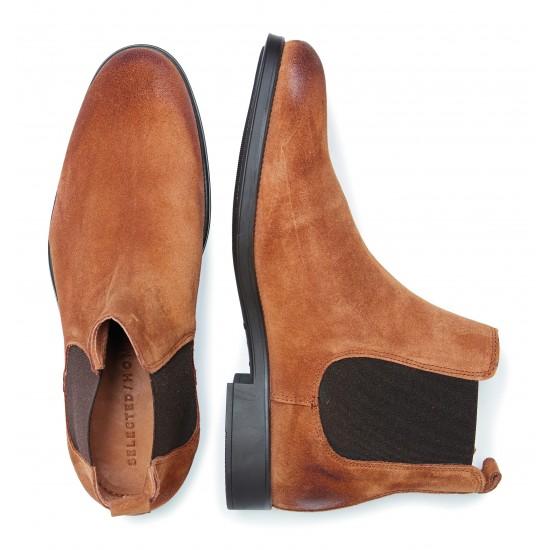 Selected - Boots en suede marron pour homme