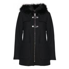 B.young - Manteau long noir à capuche