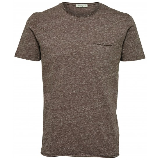 Selected - T-shirt marron chiné