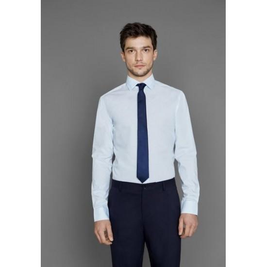 Selected homme - Chemise bleue à petits motifs noirs en coton