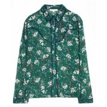 Grace et Mila - Chemise verte motifs fleurs