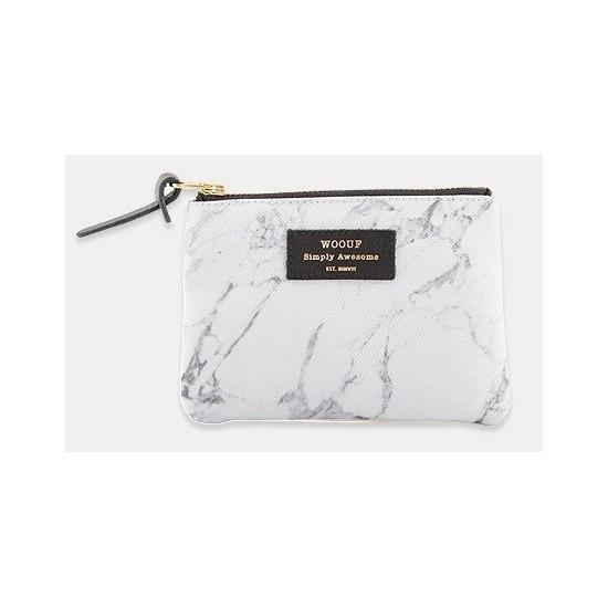 Woouf - Petite pochette imprimé marbre blanc
